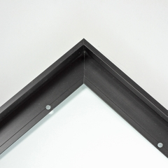 "This metal canvas floater picture frame has a smooth, matte black finish and flat, narrow (.25 "") face.   Ideal for medium to large size artwork on thin (.75 "" deep) stretcher bars.  Border gallery wrapped Giclée canvas prints or paintings with this simple, modern frame for an authentic, fine art display.  *Note: These sturdy metal, custom canvas floaters are for stretched canvas prints and paintings, and raised wood panels."